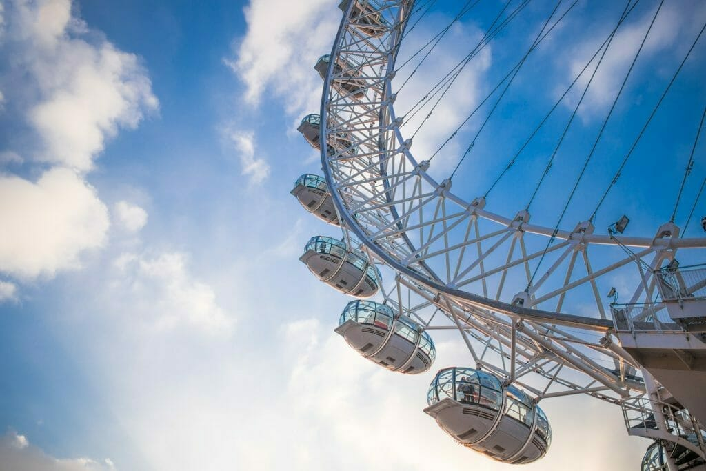 The London Eye from below with a blue sky in the background
