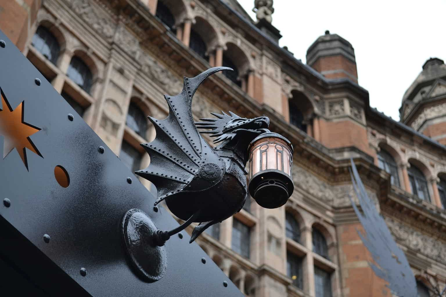 Harry Potter and The Cursed Child gargoyle light outside the theatre