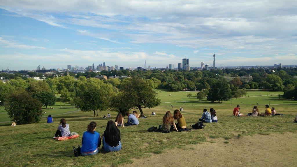 People sitting at Primrose Hill looking over London