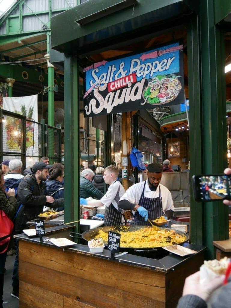 A squid food shop at Borough Market London