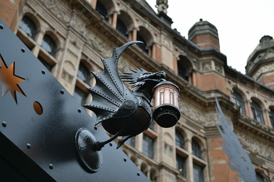 A decorative light from outside the London theatre show, Harry Potter and the Cursed Child