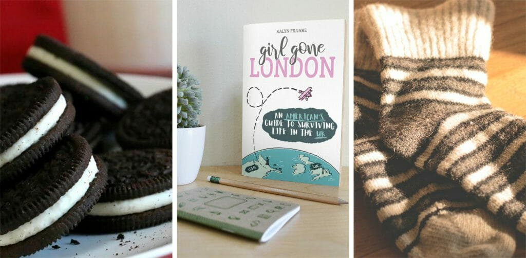 Oreo cookies, Girl Gone London book, winter socks