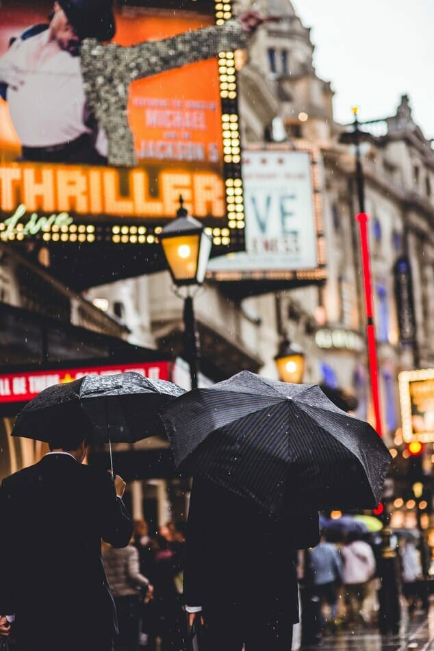 People walking in the West End, London, holding umbrellas, with show adverts in front of them