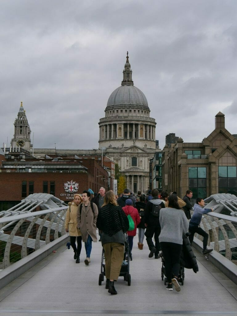City of London School with Millennium Bridge and St Paul's Cathedral